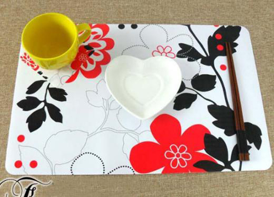 New  Rich Flower Kitchen Waterproof Placemats Western Pad Dining Table Mats+ Coasters Set  Home Decoration
