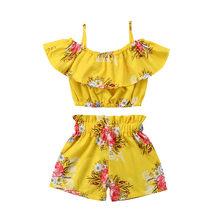 Комплект детской одежды из 2 предметов, летний модный жилет с оборками и цветочным рисунком для маленьких девочек, топ и шорты, комплекты дет...(Китай)