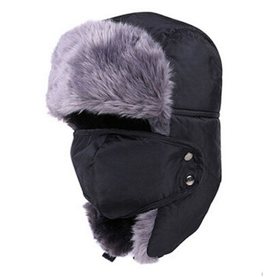 e8b9b38ce87 Unisex Winter Trapper Aviator Trooper Earflap Warm Russian Ski Hat Fur  Bomber Hats Men s Accessories