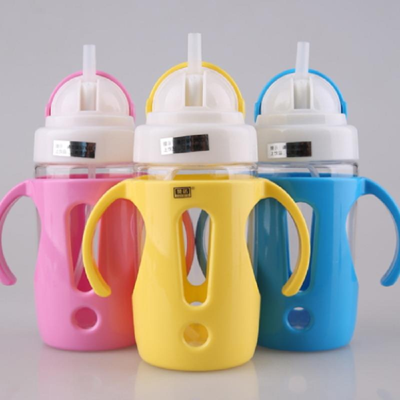 1 Pcs Pink Yellow Blue Spill Proof Toddler Baby Infant 2 Handle Spout Training Sippy Cup