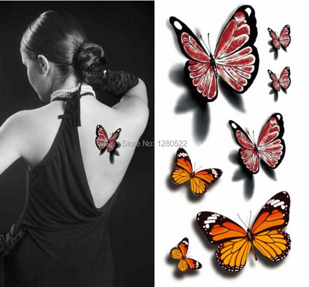 acheter 5 folhas 10 x 21 5 cm tatouage temporaire papillon 3d autocollant. Black Bedroom Furniture Sets. Home Design Ideas