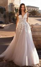LORIE 2020 грациозные V-образным вырезом пляжные свадебные платья с открытой спиной 3D цветочные с аппликацией и кружевами свадебный Тюль платья ...(China)