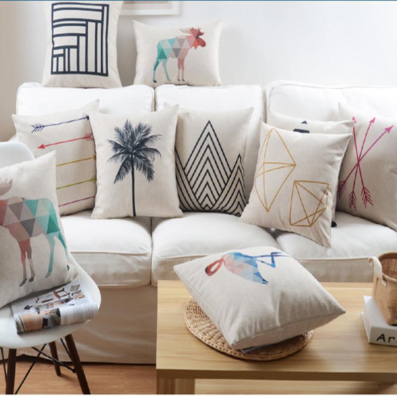 Geometric Home Decor: Nordic Abstract Geometric Home Decor Pillow Cushion Linen