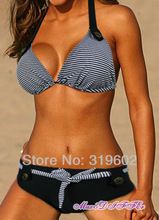 Free shipping Sexy hot navy black stripe ladies BIKINI swimsuit SWIMWEAR size S M L XL XXL shipping within 24hs