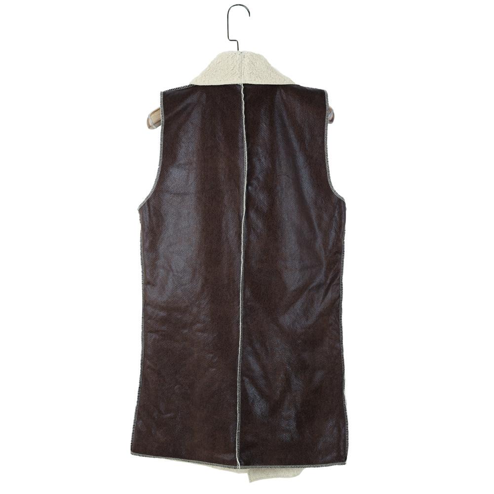 Высокое качество 2015 женщины искусственная кожа жилет с отложным воротником из искусственного меха жилет Wasitcoat Большой размер теплая куртка и браун