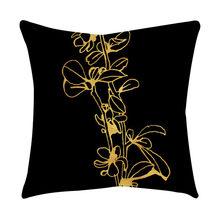 Розовая черная Золотая Подушка, квадратная наволочка, домашний декор, Funda Cojin, для гостиной, наволочка, Kussenhoes, Cojines Decorativos(Китай)