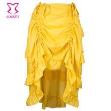 e41c724d57992e Geel Verstelbare Lengte Asymmetrische Ruche Vintage Onderrok Sexy Petticoat  Gothic Victoriaanse Rok Steampunk Rokken Voor Vrouwen