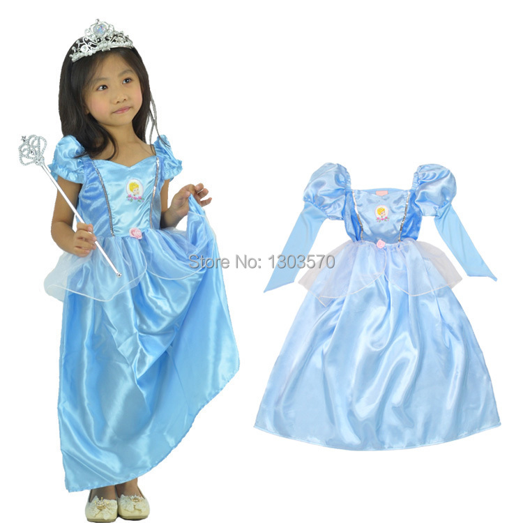 Girls Cinderella Princess Fancy Dress Kids Costume Ballet: Party Cosplay Costume Cute Girls Christmas Blue Cinderella