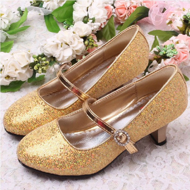 Childrens Gold Heeled Shoes