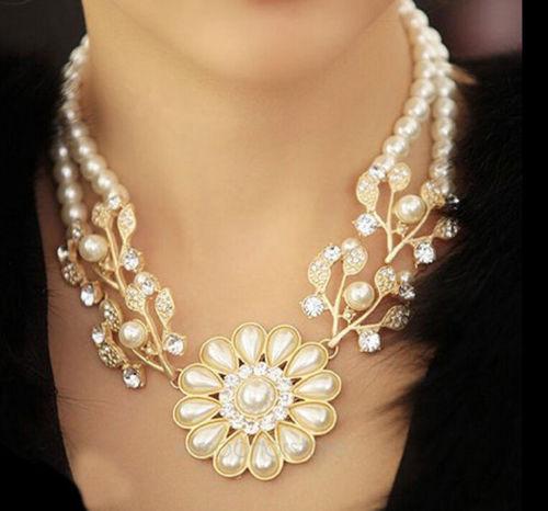 אופנה קסם תכשיטים קריסטל פרל פרח בוהמי קוצר נשימה השרשרת