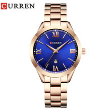 CURREN женские часы Топ бренд класса люкс золотые женские часы Дата Браслет из нержавеющей стали Классический браслет женские часы любовник п...(Китай)