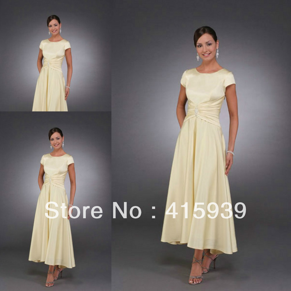 Classical Simple Style Light Yellow A Line Cap Sleeve