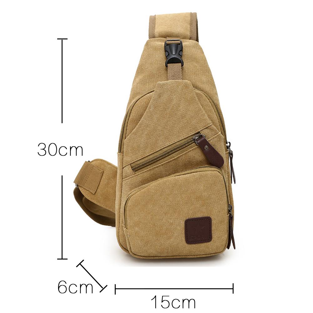 Fine Jewelry Zipper Closure Daily Gym Canvas Single Shoulder Sports Travel Adjustable Strap Gift Men Outdoor Lightweight Crossbody Chest Bag