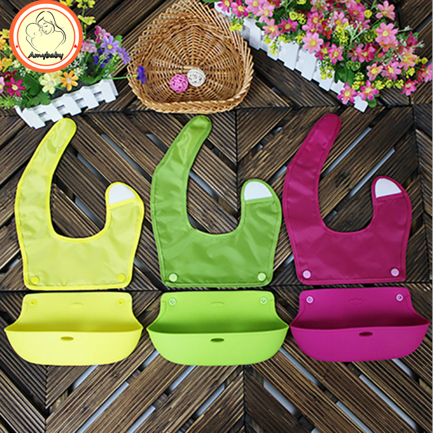 2016 new Bibs Waterproof Kids Baberos Bebes Silicone Solid Baby Feeding Clothes Bibs Burp Clothing