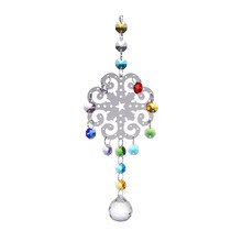 Metal Christmas Snowflake Hanging Pendants 30mm Clear Glass Crystal Prism Ball Chandelier Part Suncatcher Christmas Decoration