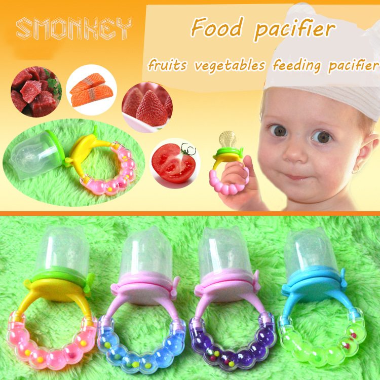 new safety silicone Bell baby food chew pacifier infant fruits vegetables feeding pacifier Soother Nipples Feeding Tool Bite Gag