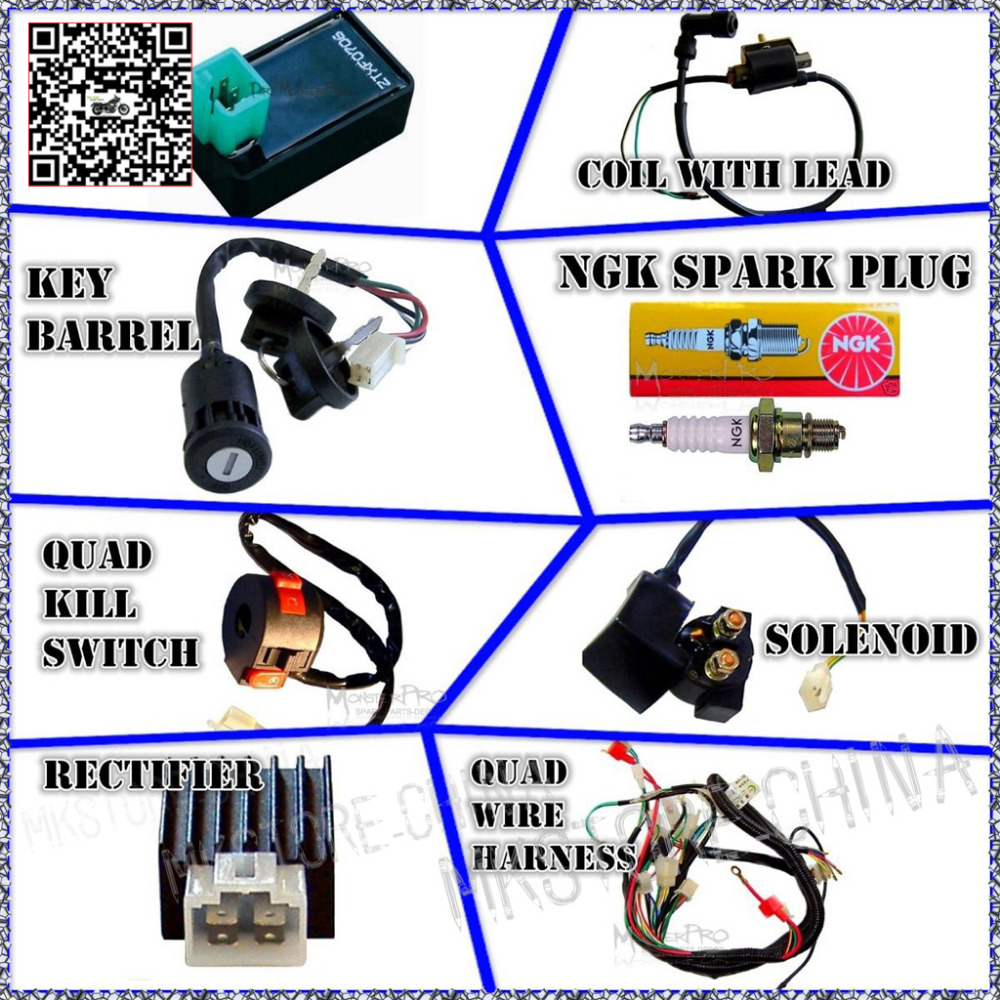 cc atv quad picture more detailed picture about wiring wiring harness cdi coil kill key switch 50cc 110cc 125cc atv quad bike buggy shipping