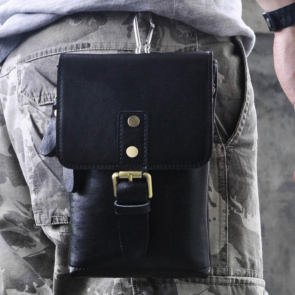 b18fa103e9eb Men S Genuine Leather Fanny Waist Bag Cell Mobile Phone Case ...