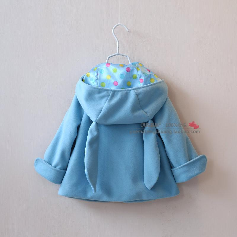 Free shipping New 2014 autumn baby clothing girls woolen casual coat children cute Rabbit ears outerwear