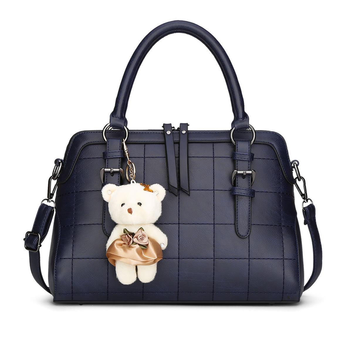 2016 Spring New Plaid Women Shoulder Bag With Bear Toy High Quality European and American Women Bags Vintage Handbag Q5