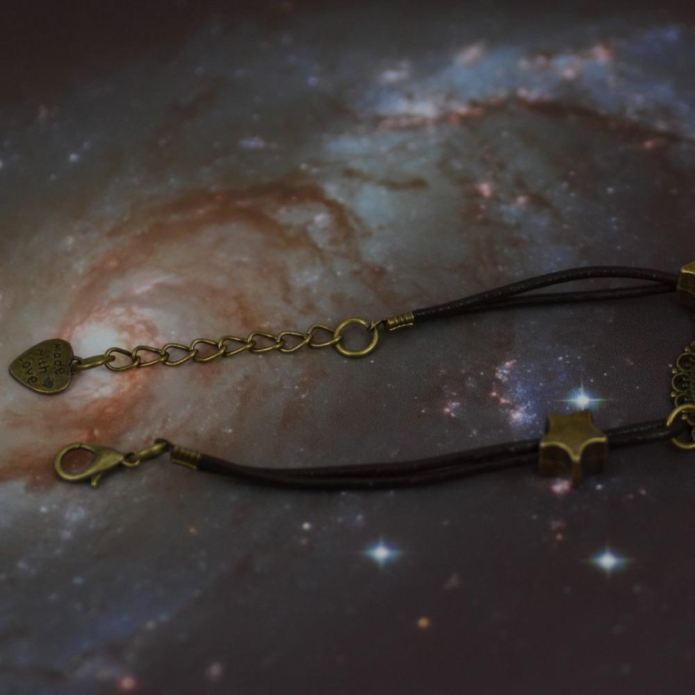 Galaxy браслет туманность пространство Star стекло Cabochons винтажный бронза тон кожа браслет дружбы лучший подарок