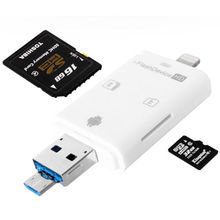 Multifunction 3-in-1 i-FlashDrive HD USB Micro SD HC TF Card Reader,IOS/Android phone/computer USB OTG phone card reader Adapter