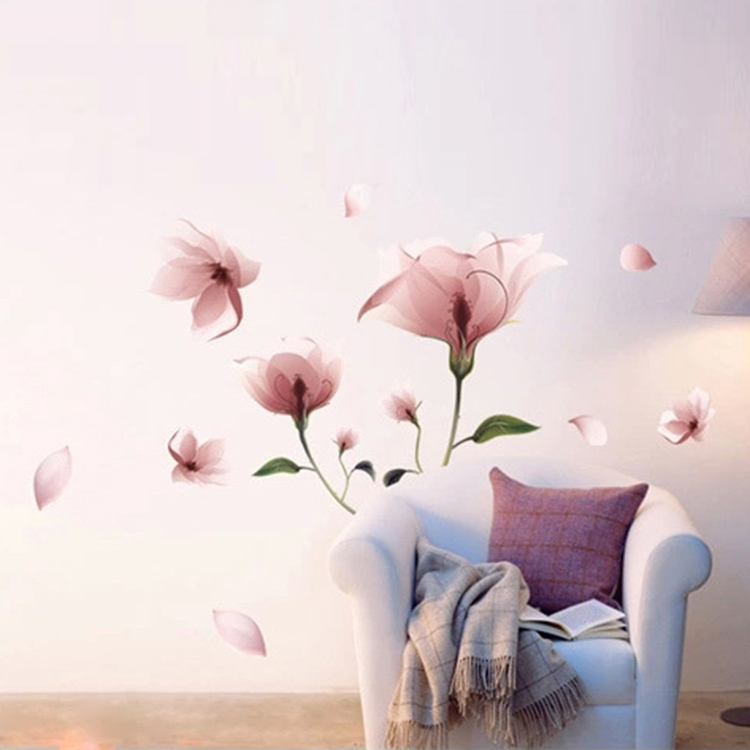 New Romantic Elegant Frosted Pink Lily Flower Petal Wall