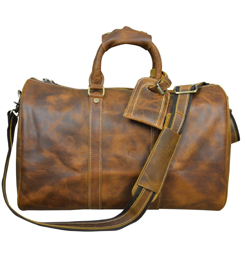 """Men's vintage crazy horse leather travel bag 18"""" Brown"""