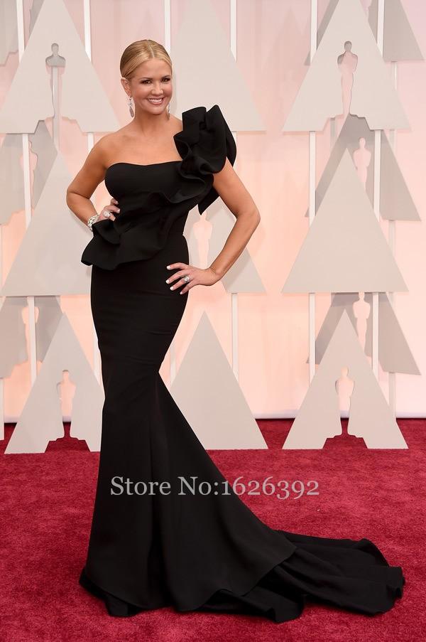 Black Evening Dresses 2015 One Shoulder Ruffles Elegant Celebrity Mermaid Gowns Nancy Odell Dress Custom made