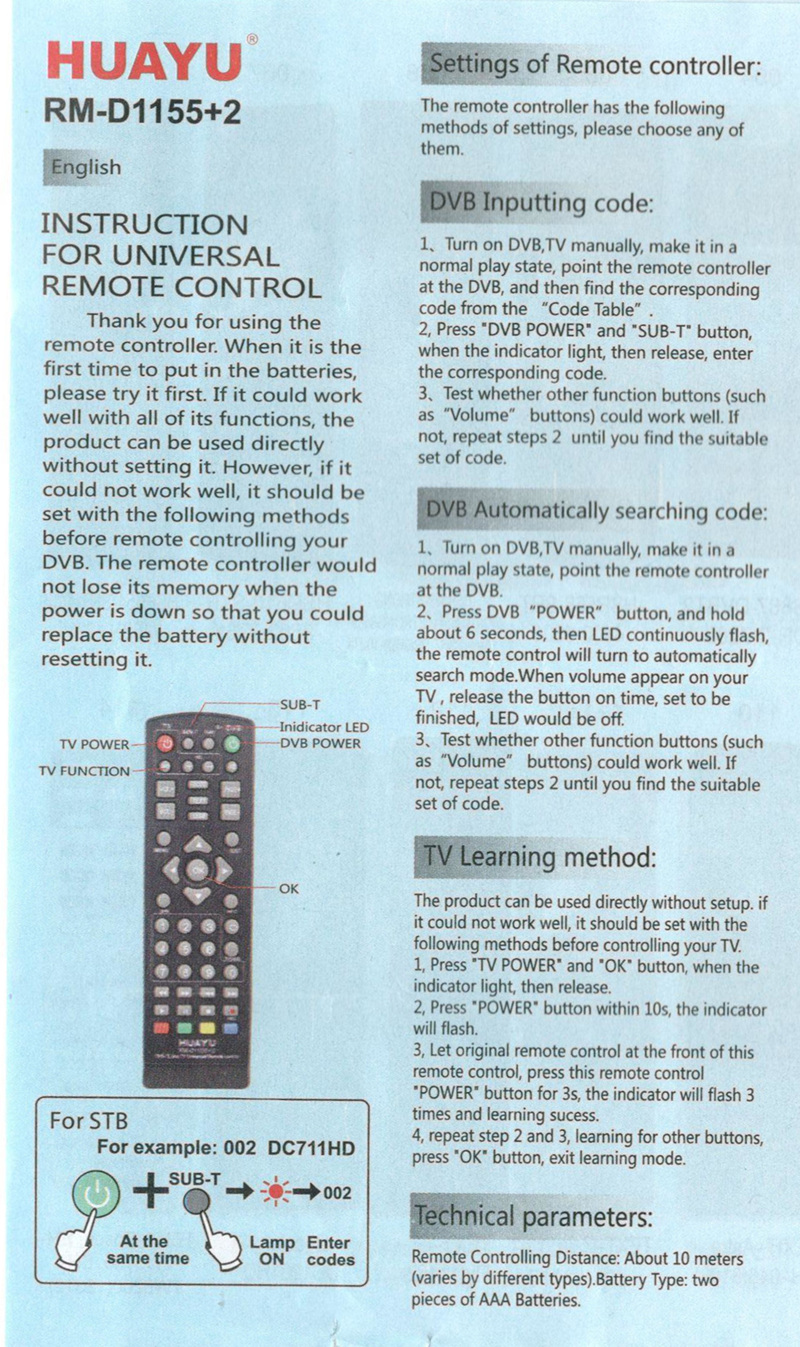 UNIVERSAL tv remote control controller dvb-t2 remote rm-d1155 sat Satellite  television receiver
