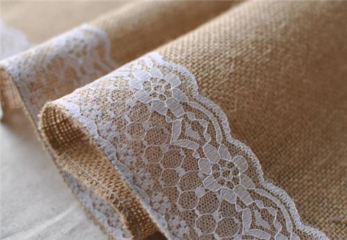acheter 2015 mariage jute chemin de table toile de jute dentelle chemin de. Black Bedroom Furniture Sets. Home Design Ideas
