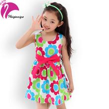Flowers Girl Dress 2016 Floral Sleeveless Cotton Dress For Baby Girl 4-15Y Vestidos Infantil Kids Summer Clothes