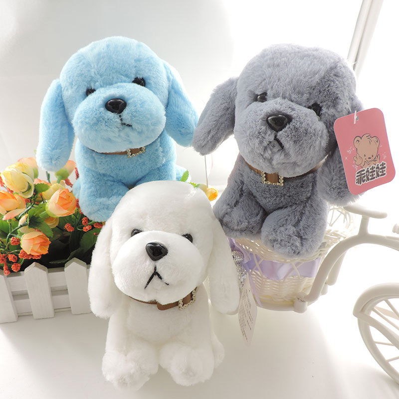 6' small cute soft puppies plush kids toys stuffed animal dogs with collar mini dolls three colors birthday party gift