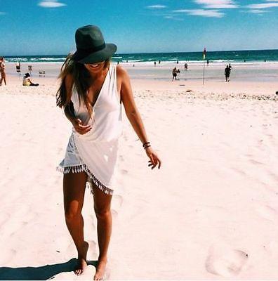 Сексуальный летом рукавов асимметричная кисточкой ну вечеринку пляж платье купальники купальный костюм