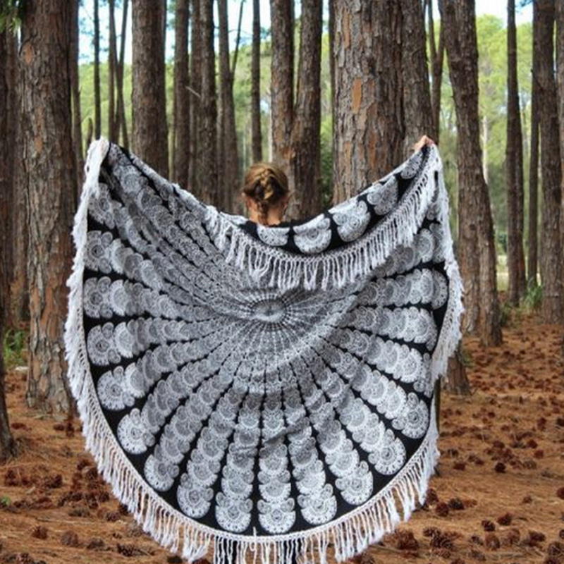150cm Fashion Round Indian Mandala Tapestry Wall Hanging Hippie Boho Beach Throw Towel Yoga Mat Table Cloth Blanket Home Decor