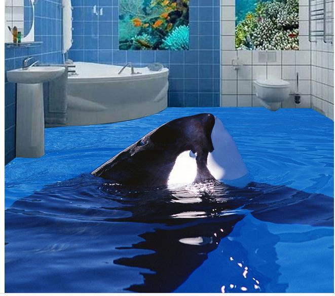 benutzerdefinierte foto boden tapete 3d stereoskopischen dolphin springt 3d boden 3d wandbild. Black Bedroom Furniture Sets. Home Design Ideas