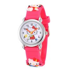 Venda quente Olá Kitty Relógios 2016 Crianças Dos Desenhos Animados Assistir Crianças legal 3D Rubber Strap Relógio De Quartzo Relógio Horas Presente Relojes Relogio