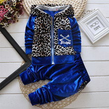 New 2015 Autumn Baby Kids Set Velvet  Fashion Leopard Coats Hoodies Pant Twinset Long Sleeve Velour Children Clothing Sets