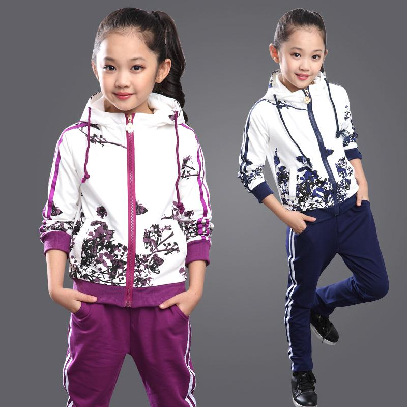 2016 Spring Girls Clothes Jacket Floral Zipper Kids Hoodies Pants Kids Tracksuit For Girls Clothing Sets