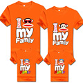 2016 Promotion Summer Cartoon Monkey Mother Father Children T shirt Matching Outfits Parents child Clothing Family