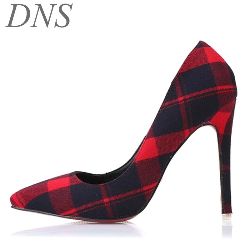 Red Plaid Pumps Shoes