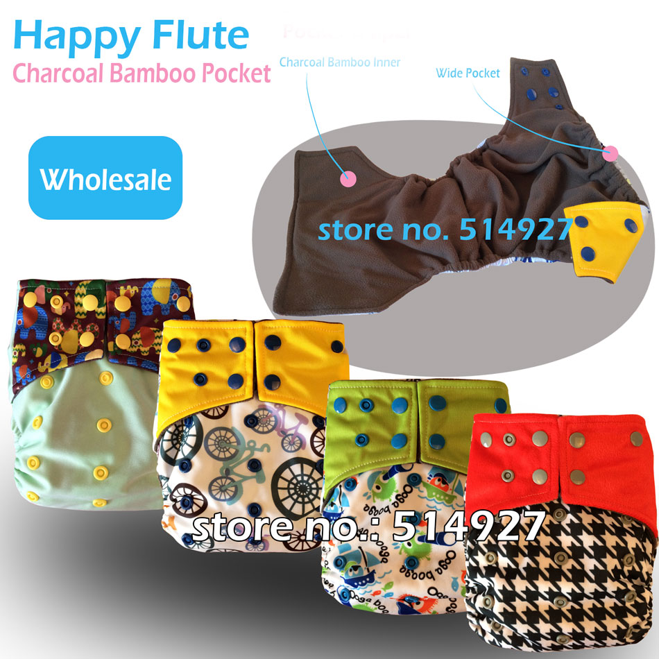 Happy Flute charcoal bamboo cloth diaper cloth nappy baby nappy double leaking guards fit 3 15kg