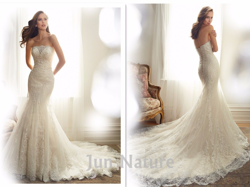 Real Picture Elegant Chapel Train Strapless Lace Open Back