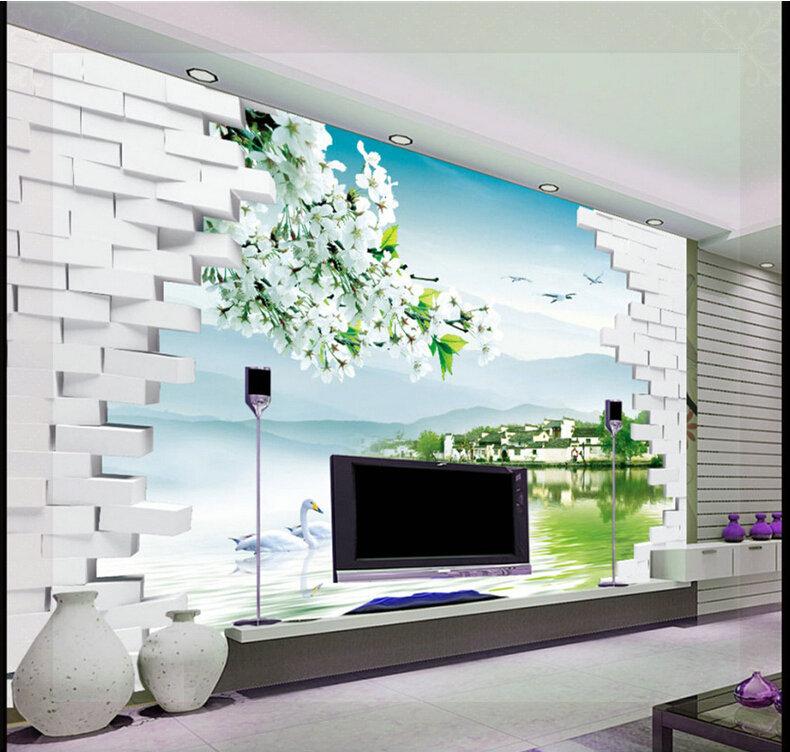 moda 3d tv pano de fundo pintura decorativa papel de parede cen rio sala quarto fundo da parede. Black Bedroom Furniture Sets. Home Design Ideas