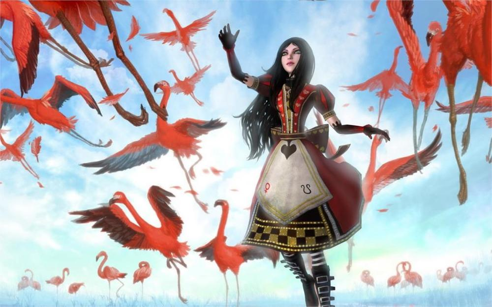 Brunettes women clouds alice in wonderland gothic heaven flamingos anime skyscapes dreaming Home Decoration Canvas Poster
