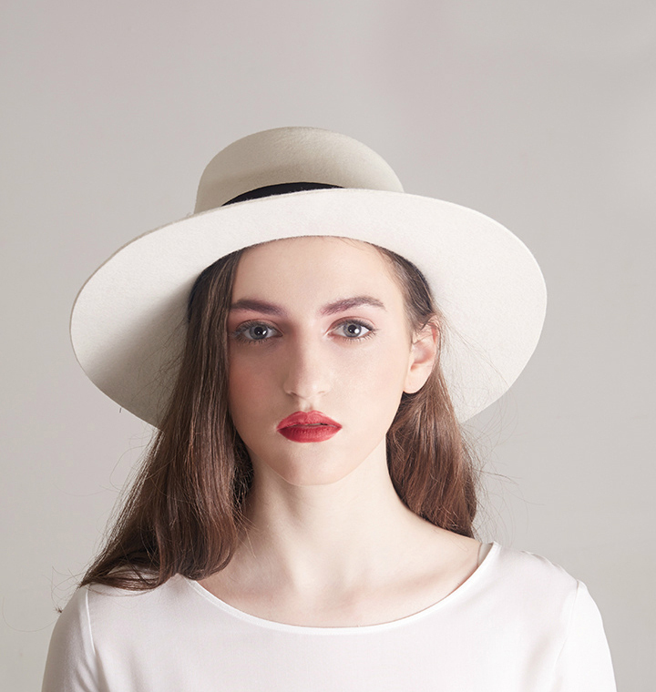 White Boater Hats for women Flat Top 100% wool felt fedora ...