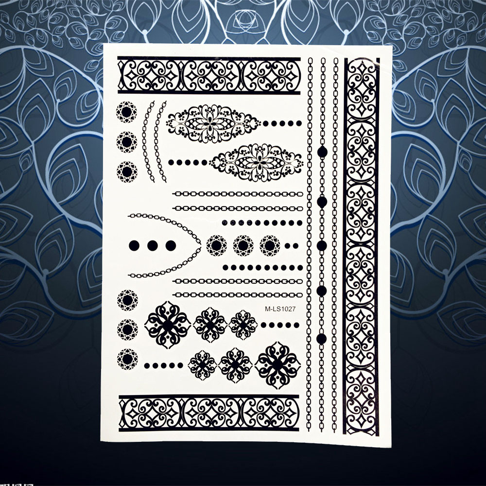 Henna Lace Bracelet Temporary Tattoo Sticker: Wrist Tattoos Flowers Promotion-Shop For Promotional Wrist