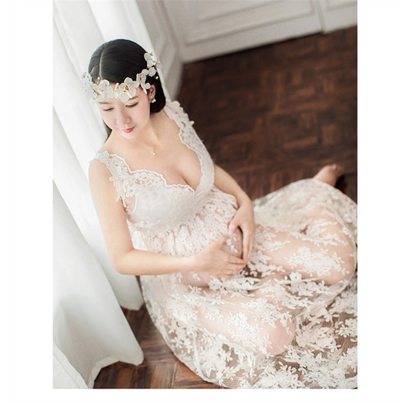 Fancy Pregnancy Photo Shoot Studio Clothing Maternity Lace Flower Gown Dress Pregnant Photography Props V Neck