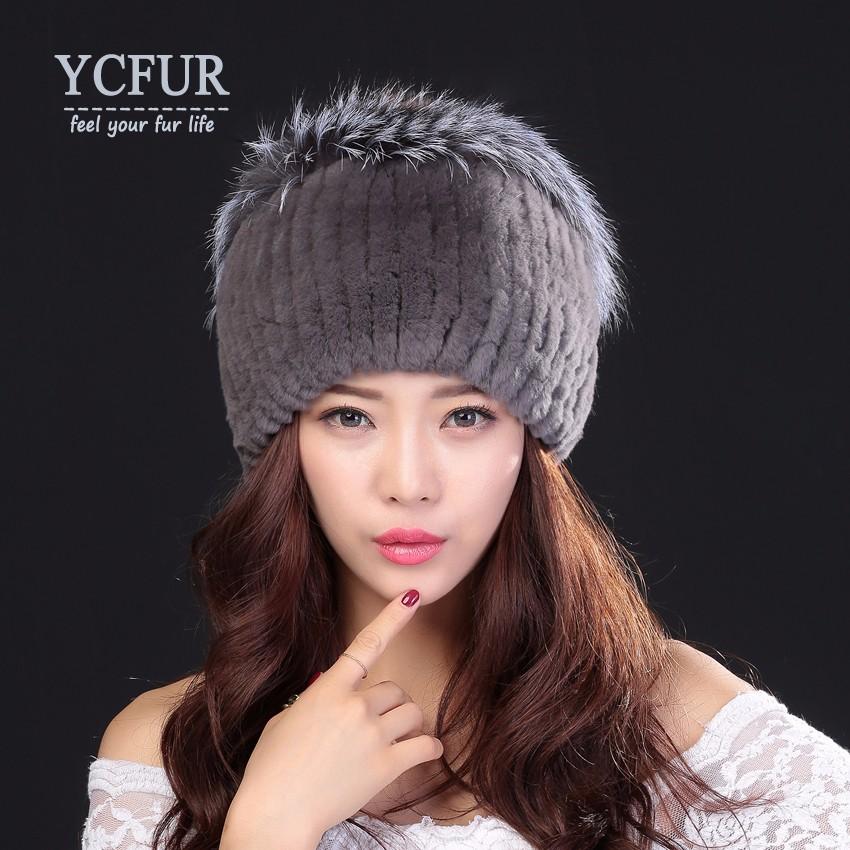 3d7b0772836 YCFUR Winter Warm Caps Hats Women Knit Real Rex Rabbit Fur Hat Cap ...