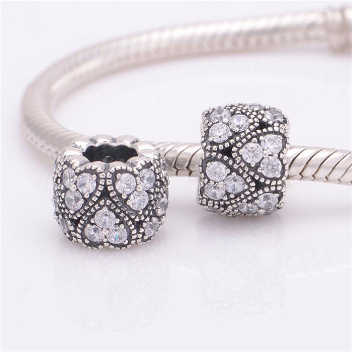 Стерлингового серебра 925 прозрачного хрусталя бусины любовь сердца шариков прокладки прелести для женщин ювелирные изделия миссис серебро изящные ювелирные X319 Z15